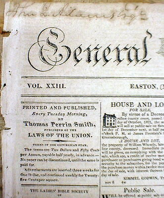 Rare original 1822 Easton MD newspaper Delivered To & Owned By JOHN QUINCY ADAMS
