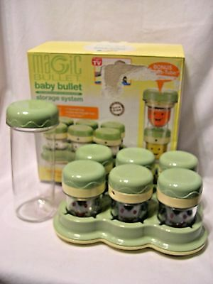 6 Baby Bullet Food Storage Cups Containers W/Date Dial Lids & Tray + to go tube