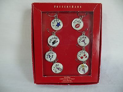 Pottery Barn Reindeer Wine Charms  10th Anniversary Wine Glass