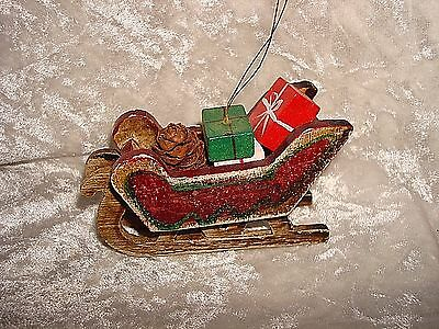 Sleigh With Gifts Christmas Ornament Wood