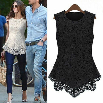 New Ladies Women Lace Blouse Sleeveless shirt Doll Chiffon Tops S M L XL - 5XL