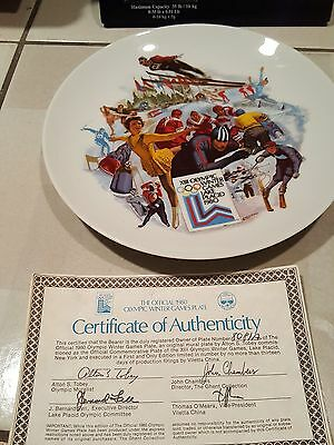 1980 Olympic Games plate (Lake PLacid, NY) - Winter Games WE BEAT RUSSIA