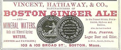 1879 Vincent, Hathaway & Co, Boston Massachusetts Ginger Ale Color Advertisement