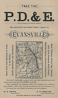 1888 Peoria, Decatur & Evansville Railroad, Peoria, Illinois Color Advertisement