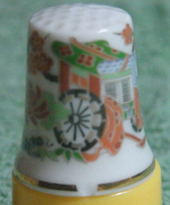 Vintage Made In Japan 1960's Bone China Thimble Oriental Scene