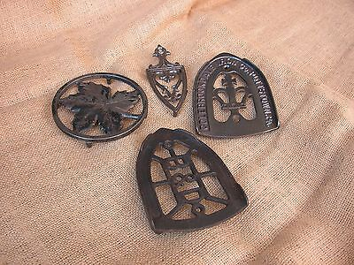 4  Antique Cast Iron Trivets Metal Ware Home & Hearth   Decorative Collectible