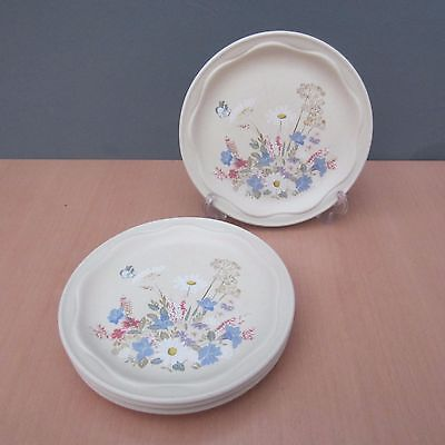 4 Vintage Poole Pottery Springtime 6 1/2 Inch Side Plates
