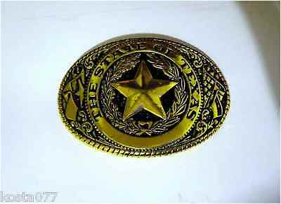 The State Of Texas, Gold Toned Western Brass Belt Buckle