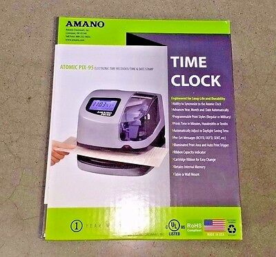 Amano Atomic Employee Time Clock Electronic Time Recorder / Date Stamp PIX-95