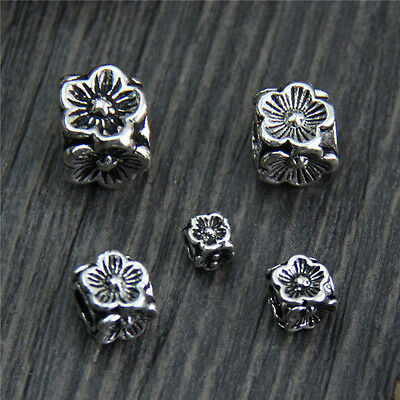 Elegant 925 Sterling Silver 4mm Loose Flower Squared Beads 10pcs/Lot