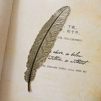 2pcs Bookmark Vintage Copper Feather Bookmarks Book Magazine Accessories Hot