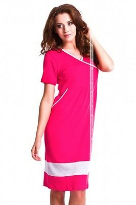 Classic Cotton short sleeve maternity/pregnancy nightdress with pockets