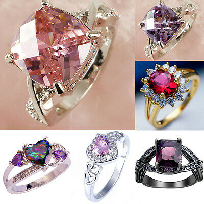 Women pink, Amethyst Zircon Crystal Rhinestone white gold filled Ring Jewelry