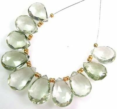 10 GENUINE PRASIOLITE GREEN AMETHYST FACETED PEAR BRIOLETTE BEADS 12-13 mm  J3