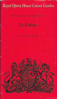 Puccini's LA BOHEME at The Royal Opera House Covent Garden 17th. July 1982