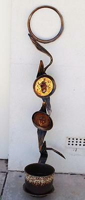 Large Retro Vintage Abstract Hanging Copper/Brass Wall Art Pot Plant Holder