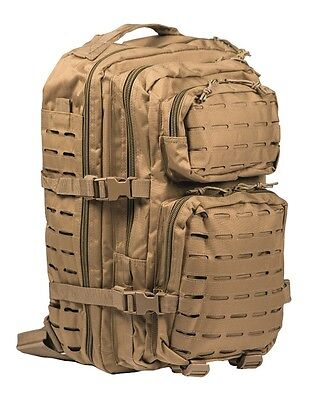 Mil-Tec Us Assault Pack Lg Laser Cut Coyote Rucksack Backpack Army Outdoor