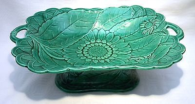 Victorian Wedgwood Majolica Green Sunflower Pedestal Serving Dish  / Tazza