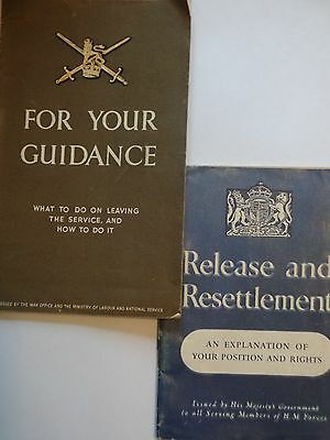 WW2 War Office Release and resettlement and leaving the service booklets x 2
