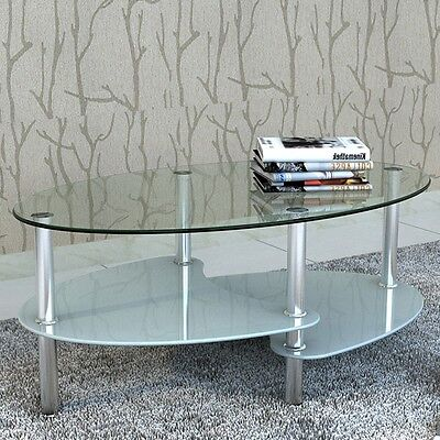 #sNEW Exclusive Coffee Table 3-layer Design in White Tempered Glass Metal Frame