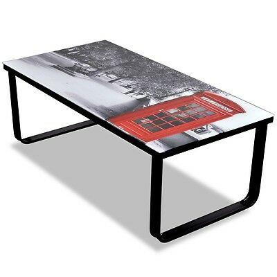 #sNEW Glass Coffee Table Telephone Booth Printing Metal Side End Table Living Ro