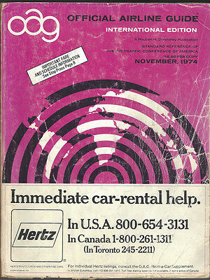 Official Airline Guide (OAG) International timetable 11/74 [7014]