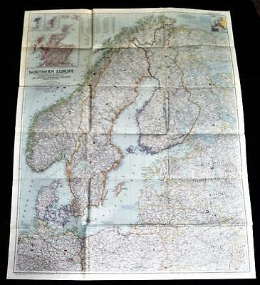 The National Geographic Society Map Northern Europe Scandinavia 1954 Vintage