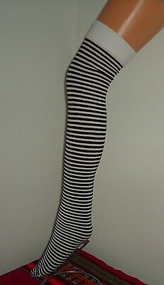 NEW LADIES BLACK & WHITE STRIPED OVER KNEE SOCKS (One Size)