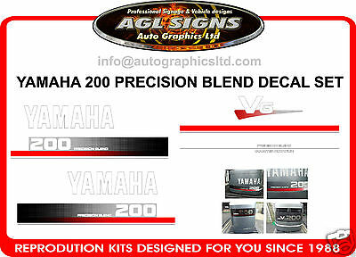 1990 - 93 YAMAHA 200 V6 Precision Blend Outboard Decals Reproduction 150 175 250