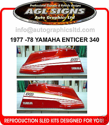 1977 - 1978 YAMAHA ENTICER 340 SNOWMOBILE DECAL KIT reproductions graphics