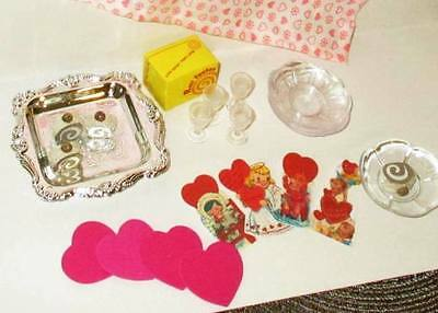 "VALENTINE PARTY fits Muffie Doll 8"" BARBIE or Betsy McCall  set #2a, 22 items"