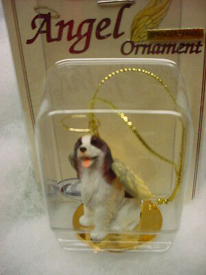 SPRINGER SPANIEL dog ANGEL Ornament Figurine Christmas liver brown white puppy