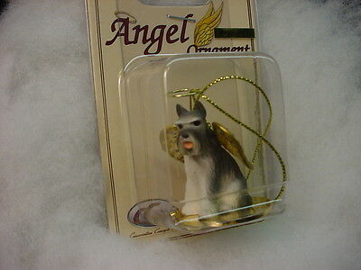 SCHNAUZER gray dog ANGEL Ornament MINIATURE Figurine NEW Christmas CROPPED puppy
