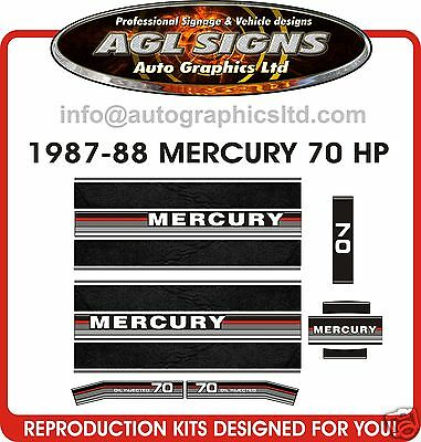 1987 - 1988 MERCURY 70 hp OUTBOARD DECAL SET, reproductins  80  90 HP available
