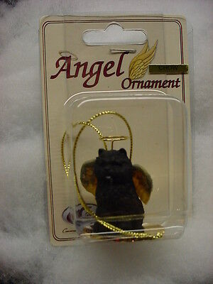 BLACK CHOW dog ANGEL ORNAMENT Resin Figurine Statue COLLECTIBLE Christmas puppy