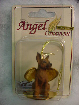 MIN PIN dog ANGEL Hand Painted ORNAMENT Figurine MINIATURE PINSCHER brown puppy