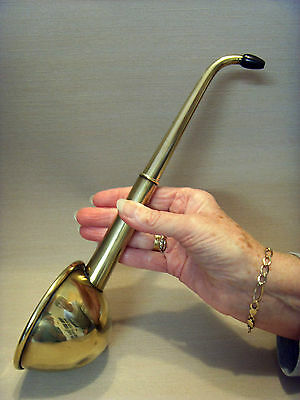 LATE 19thC ENGLISH BRASS HEARING AID TRUMPET, WITH TELESCOPIC EAR PIECE.
