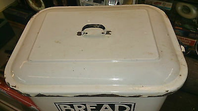 Vintage Original Shabby Chic l Kitchen Bread Storage Bin Black & white enamel