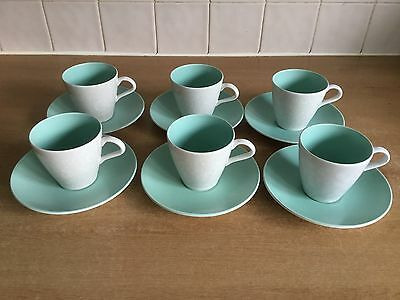 Poole Pottery - Ice Green & Seagull C57 - 6 X Cups and Saucers