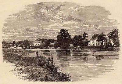 Greater London, the Thames at Halliford, 1890s antique engraving ready mounted