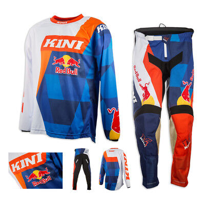 Kini Red Bull Vintage Combo MX Motocross DH Enduro Crosshose Jersey orange blau