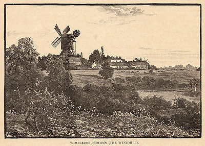 London, Wimbledon Common Windmill, 1890s antique engraving ready mounted SUPERB