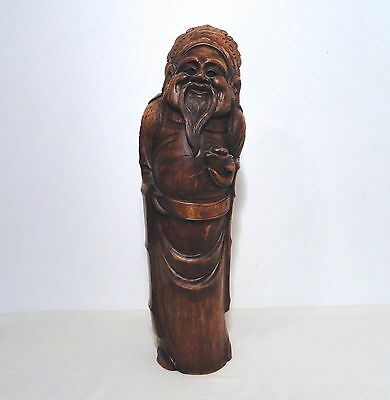 Antique Large Hand Carved Bamboo Chinese Immortal Figure Sculpture Statue Art