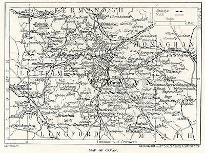 1923 map of Ireland: County Cavan antique ready-mounted print SUPERB