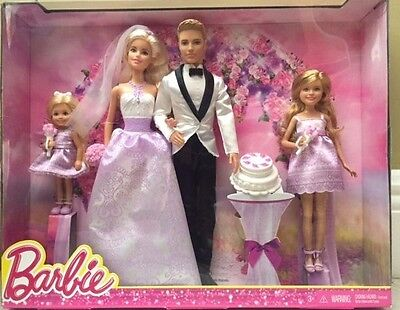 Barbie I Can Be A Bride Wedding Day Set Exclusive 4 Pack - Barbie Ken & kids NEW