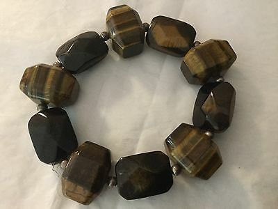 Ten 10 Vintage Faceted Tiger's eye lozenge and barrel shaped beads