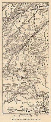 Map of Highland Railway, Scotland, antique print, ready mounted  1880s