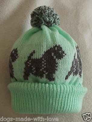 CAIRN TERRIER GREY dog Knitted MINT beanie pompom bobble ADULT size HAT