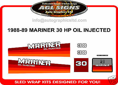 1988 1989 MERCURY MARINER 30 hp OIL INJECTED DECALS reproductions
