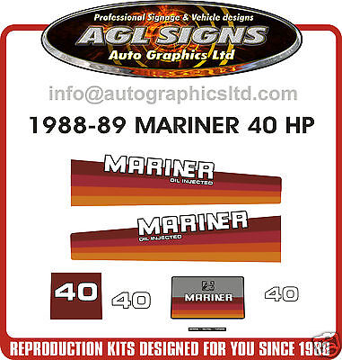 1988 1989 MERCURY MARINER 40 hp OIL INJECTED OUTBOARD DECALS